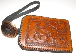 Leather I.D. Case Wristlet Hand Tooled Hand Stitched with Copper Concho