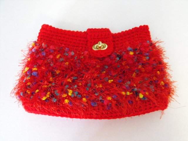 Image 0 of Handcrafted Crochet Clutch Purse Red Fun Fur Fully Lined