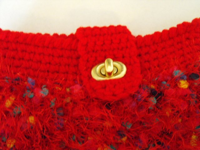 Image 3 of Handcrafted Crochet Clutch Purse Red Fun Fur Fully Lined