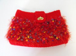 Handcrafted Crochet Clutch Purse Red Fun Fur Fully Lined