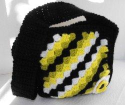 Crocheted Fully Lined Small Handbag Purse with Flower Handmade
