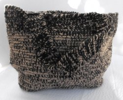 Crocheted Fully Lined Handbag Acrylic Yarn Camel and Black