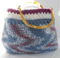 Large Tote Hand Crocheted Fully Lined Bamboo Handles Blue Plum White