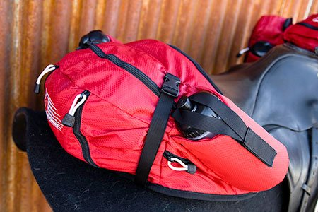 Stowaway English Cantle Bag Red 3/4 side view Photos Courtesy of Easycare, Inc.