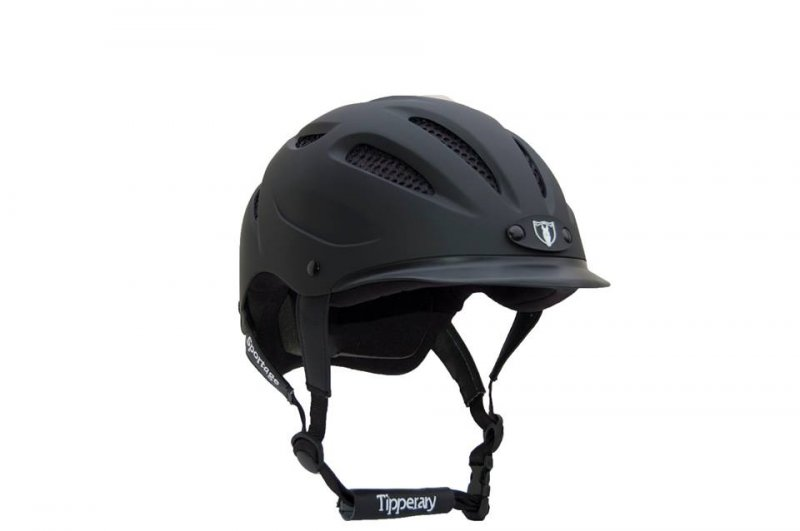 Tipperary Sportage Matte Black Equestrian Helmet. Stock Photo
