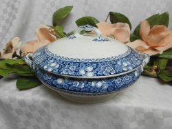 Thumbnail of Antique J.H. Weatherby After 1892 China Rutland Blue Transferware CVD Veg Dish