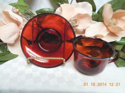 Thumbnail of Arcoroc France Glass Classique in Ruby with Rim Cup and saucer