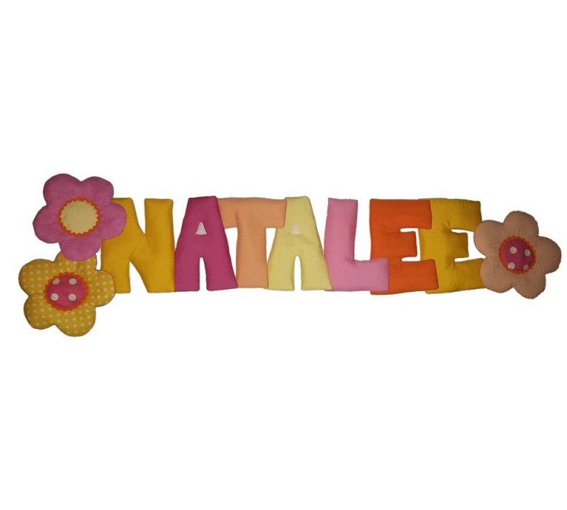 Image 0 of Puffy Letters N' Flowers Personalized Kids Fabric Art Designs Decor Growth Chart