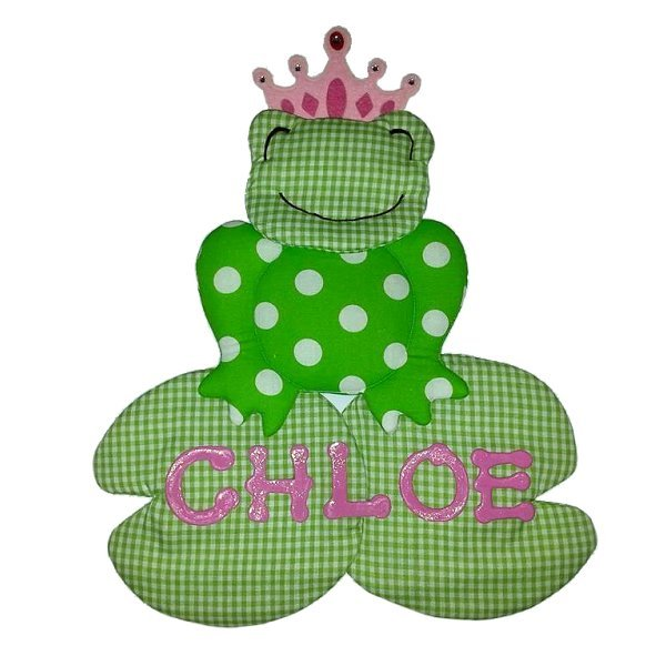 Image 0 of Frog Growth Chart Personalized Kids Fabric Art Designs Decor Growth Charts