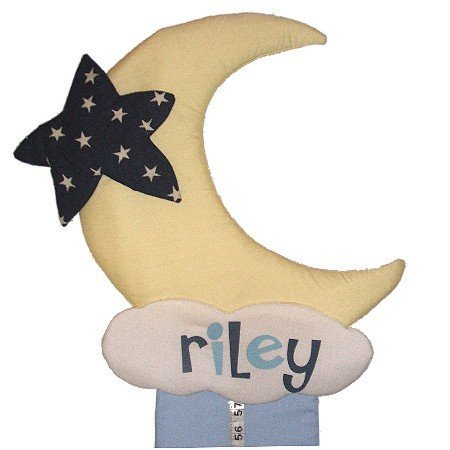 Image 0 of Moon Growth Chart Personalized Kids Fabric Art Designs Decor Growth Charts