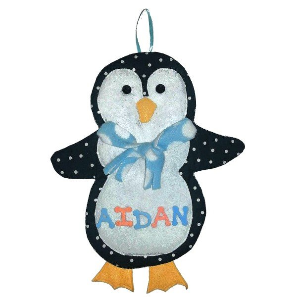 Image 0 of Penguin Growth Chart Personalized Kids Fabric Art Designs Decor Growth Charts