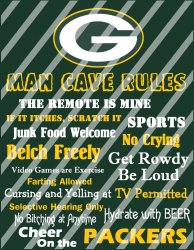 Green Bay Packers Man Cave Rules Wall Decor Sign (instant download,print,framed)