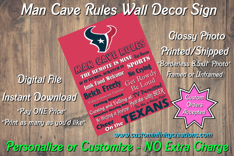 Houston Texans Man Cave Rules Wall Decor Sign Instant Download