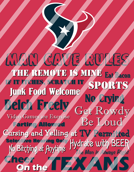 Houston Texans Man Cave Rules Wall Decor Sign Instant Download Or