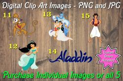 Aladdin Jasmine Digital Clip Art Images #11-15 (png and jpg)