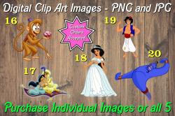 Aladdin Jasmine Digital Clip Art Images #16-20 (png and jpg)