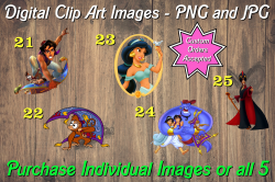 Aladdin Jasmine Digital Clip Art Images #21-25 (png and jpg)