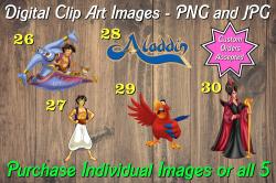 Aladdin Jasmine Digital Clip Art Images #26-30 (png and jpg)