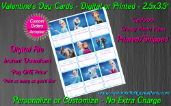 Frozen Digital or Printed Valentines Day Cards 2.5x3.5 Sheet #1