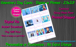 Frozen Digital or Printed Valentines Day Cards 2.5x3.5 Sheet #2
