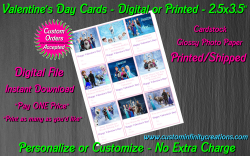 Frozen Digital or Printed Valentines Day Cards 2.5x3.5 Sheet #3