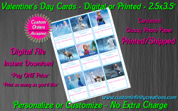 Frozen Digital or Printed Valentines Day Cards 2.5x3.5 Sheet #4