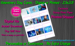 Frozen Digital or Printed Valentines Day Cards 2.5x3.5 Sheet #5