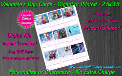 Frozen Digital or Printed Valentines Day Cards 2.5x3.5 Sheet #6