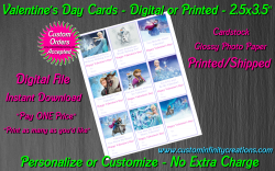 Frozen Digital or Printed Valentines Day Cards 2.5x3.5 Sheet #7