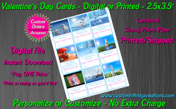 Frozen Digital or Printed Valentines Day Cards 2.5x3.5 Sheet #8
