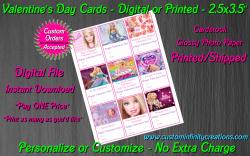 Barbie Digital or Printed Valentines Day Cards 2.5x3.5 Sheet #1