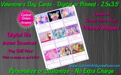Barbie Digital or Printed Valentines Day Cards 2.5x3.5 Sheet #2