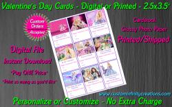 Barbie Digital or Printed Valentines Day Cards 2.5x3.5 Sheet #4