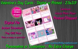 Barbie Digital or Printed Valentines Day Cards 2.5x3.5 Sheet #5