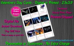 Batman Digital or Printed Valentines Day Cards 2.5x3.5 Sheet #2