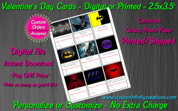 Batman Digital or Printed Valentines Day Cards 2.5x3.5 Sheet #4