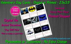 Batman Digital or Printed Valentines Day Cards 2.5x3.5 Sheet #5