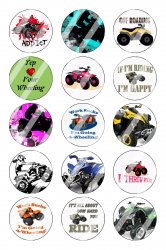 4 Wheeler Bottle Cap 1 Circle Images Sheet #1 (instant download or pre cut)