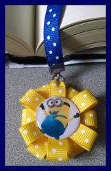 Despicable Me Minion Ribbon Bookmark #F11 (you choose image and ribbon colors)