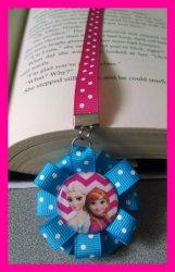 Disney Frozen Chevron Ribbon Bookmark #B9 (you choose image and ribbon color)