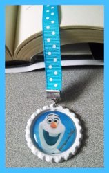 Disney Frozen Bottle Cap Bookmark #B1 (choose image, bottlecap and ribbon color)