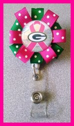 Green Bay Packers Retractable Ribbon Badge Reel #E2 (choose image, clip, colors)