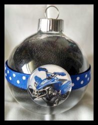 4 Wheeler Quad Round Glass Ornament #A11 (choose image and colors)