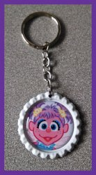 Abby Cadabby Bottle Cap Keychain #C8 (you choose image and bottle cap color)