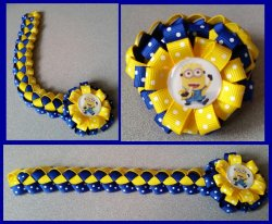 Despicable Me Minion Hair Bow Ribbon Bun Wrap #E8 (you choose image and colors)