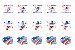 4th Of July Bottle Cap 1 Circle Images Sheet #1x (instant download or pre cut)