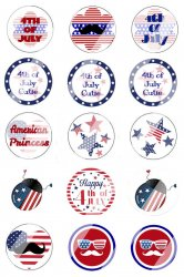 4th Of July Bottle Cap 1 Circle Images Sheet #2x (instant download or pre cut)