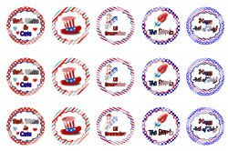 4th Of July Bottle Cap 1 Circle Images Sheet #3x (instant download or pre cut)