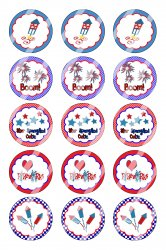 4th Of July Bottle Cap 1 Circle Images Sheet #4x (instant download or pre cut)