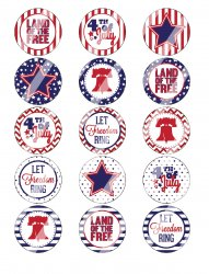 4th Of July Bottle Cap 1 Circle Images Sheet #5x (instant download or pre cut)